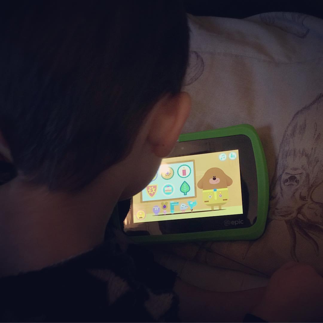 Sam on his Leapfrog Epic Tablet
