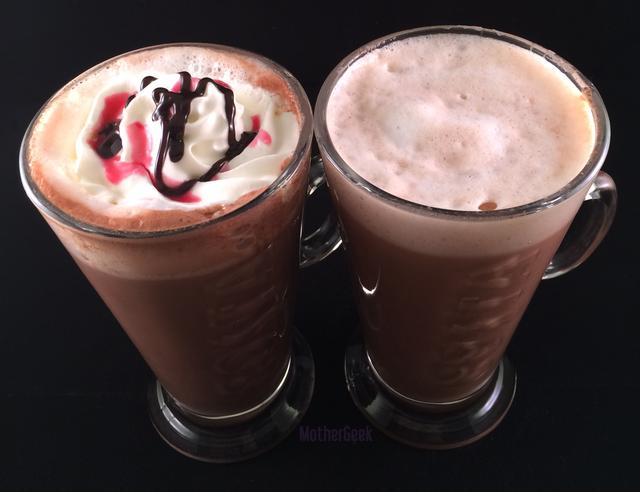 Costa Style orange hot chocolate recipe on the right, Black Forest hot chocolate on the left
