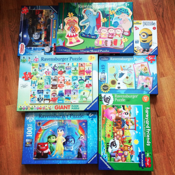 our haul for our Ravensburger Puzzles party