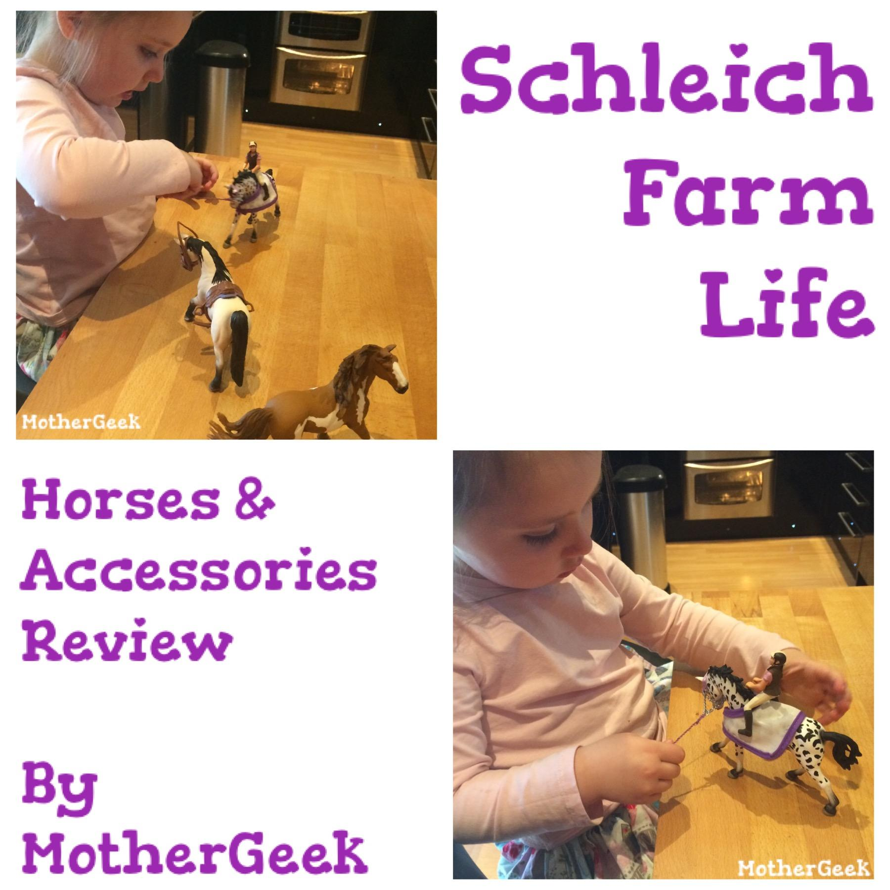 Child playing with Schleich Farm Life Horses