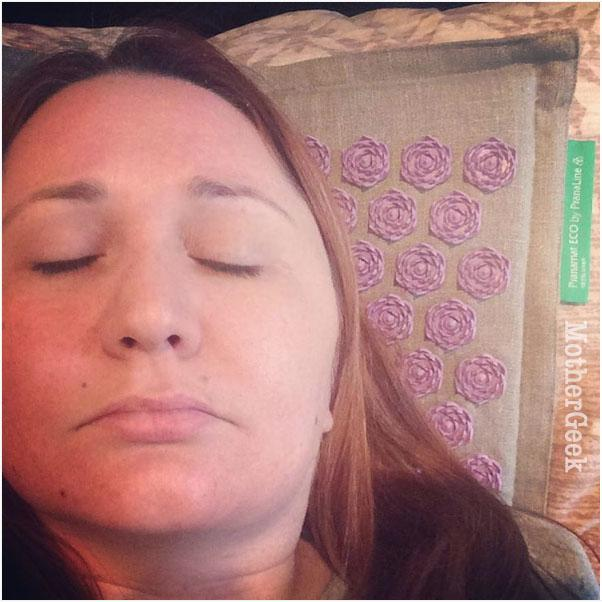 Me on the Pranamat Eco Therapeutic Massage Mat Review