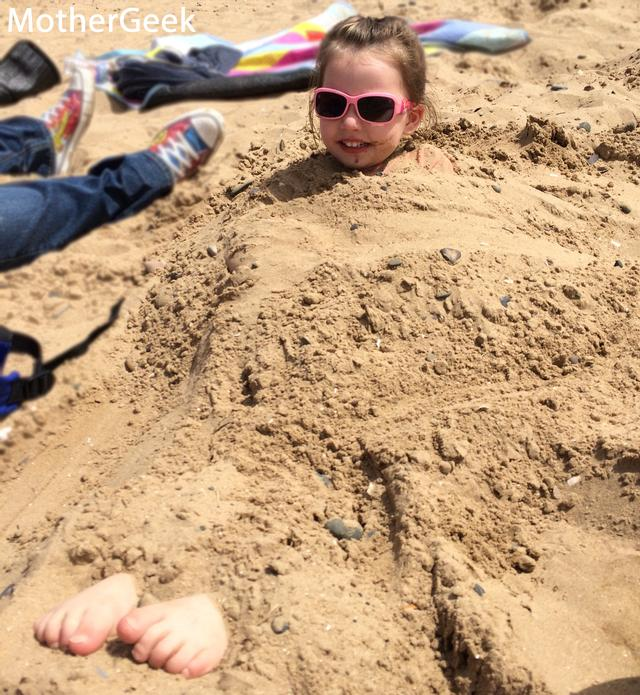 Our Trip To The Seaside - Syd buried in sand
