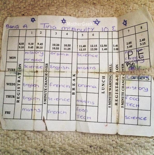 School timetable 1998