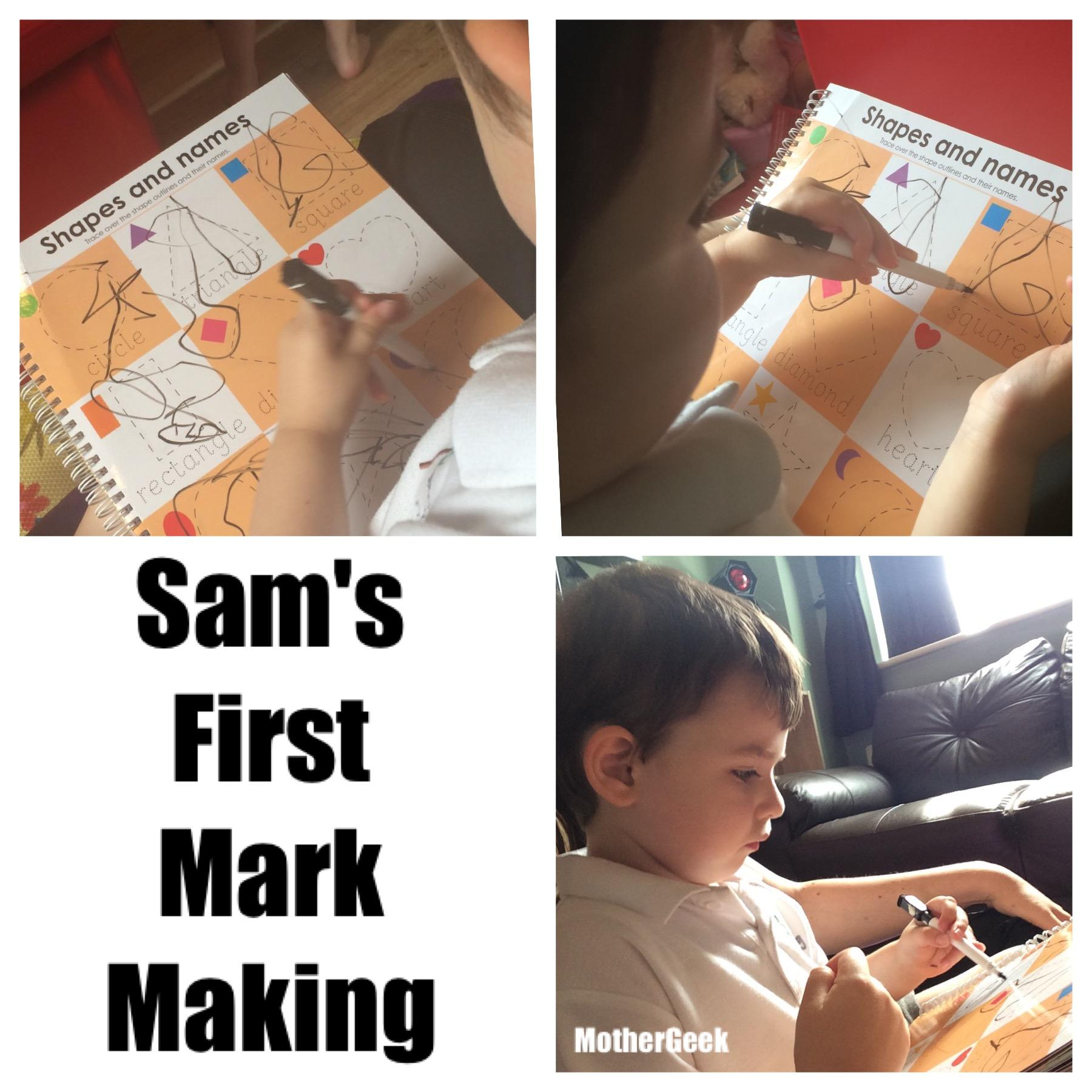 Our Autism Journey - Sam mark making at age 4