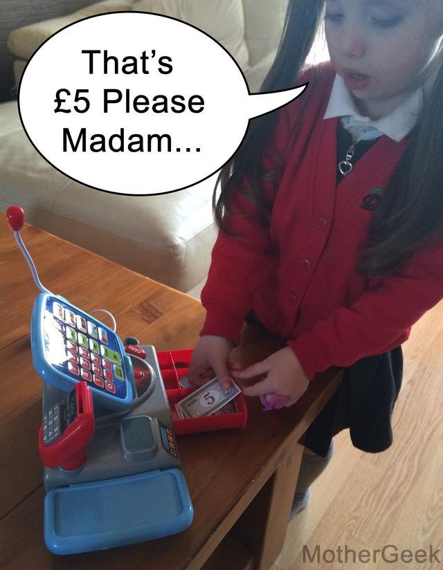 Syd on her Casdon Toy Supermarket Till
